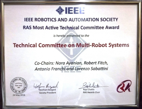 Award Recipient 2018 Ieee Ras Most Active Technical Committee